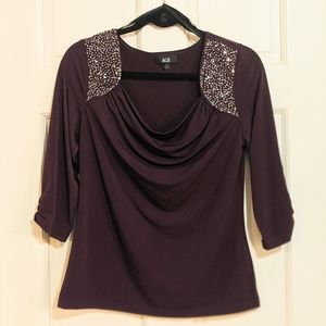 Elegant purple top NWOT